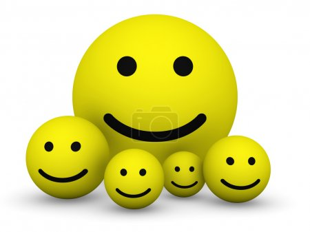Photo for Group of yellow smiley balls with different size. - Royalty Free Image