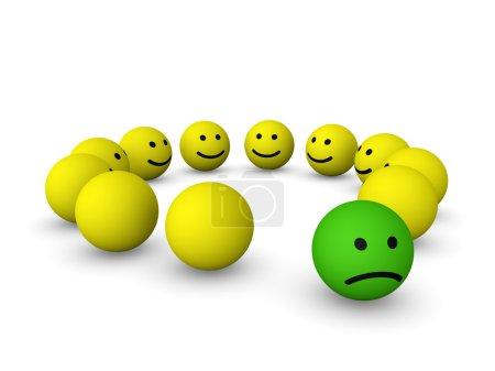 Photo pour Smiley triste entre les smileys heureux. rendu 3D. - image libre de droit