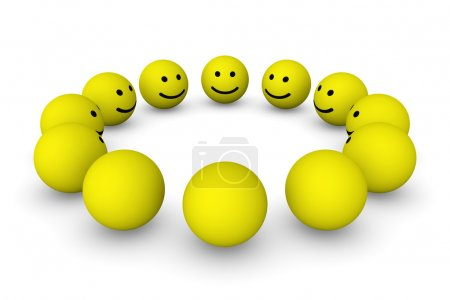 Group of smiley balls