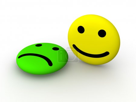 Photo for Sad and happy smiley faces. 3d rendering. - Royalty Free Image