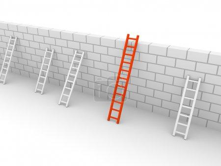 Photo pour Plusieurs échelles avec différentes longueurs, appuyé au mur de brique. rendu 3D. - image libre de droit