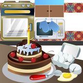 Birthday cake at the kitchen