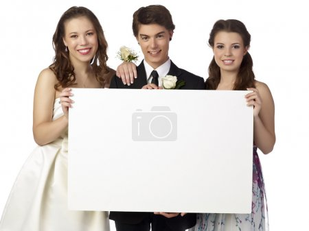 happy teenager holding white board on prom