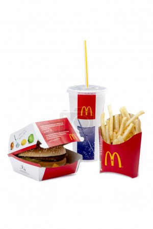 Close-up image of a McDonald's products with chees...