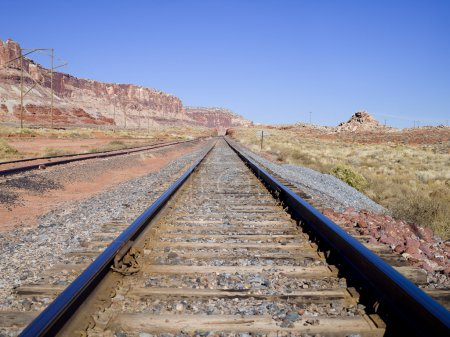 Traintracks with Red Canyon