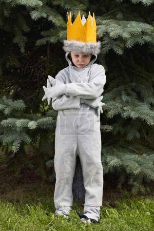 boy in fancy dress costume with arms crossed