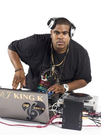 portrait shot of a fat man playing music