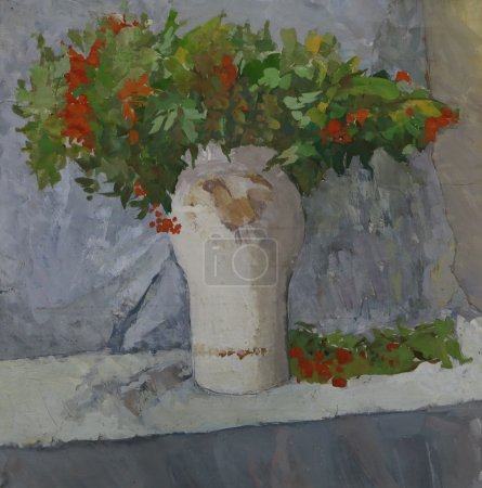 Still life: Branches of a Rowan (Ashberry) in Vase
