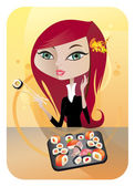 The vector illustration of the Smiling Girl Enjoying Sushi