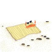Beach crab in sunglasses on towel