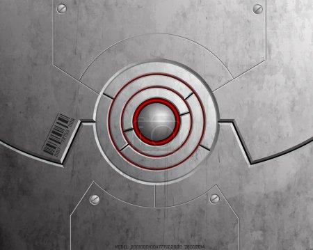 Illustration for High-tech lock symbolizing safety. Metallic texture. - Royalty Free Image