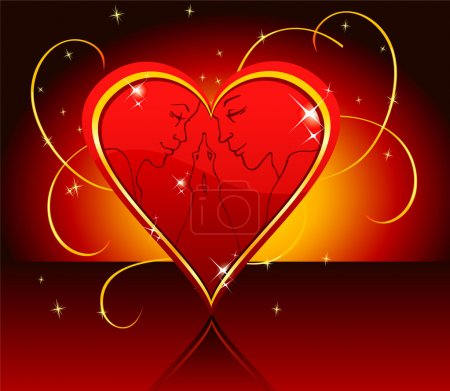 Vector illustration of Kissing in love