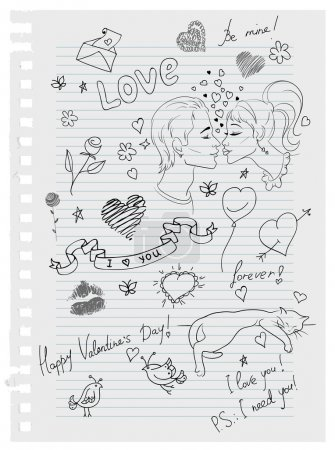 Hand-drawn love doodles