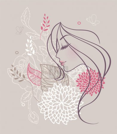 Vector illustration of Beauty floral woman...