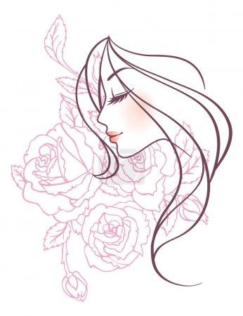 Illustration pour Illustration vectorielle de Beauté femme florale - image libre de droit