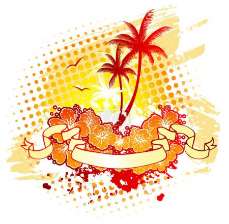 Vector illustration of Tropic back with palms