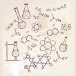 Vector illustration of Hand draw chemistry on back...