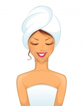 Illustration pour Illustration vectorielle de Jeune femme souriante avec serviette - image libre de droit