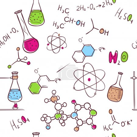 Photo pour Illustration vectorielle du schéma chimique du dessin à la main - image libre de droit