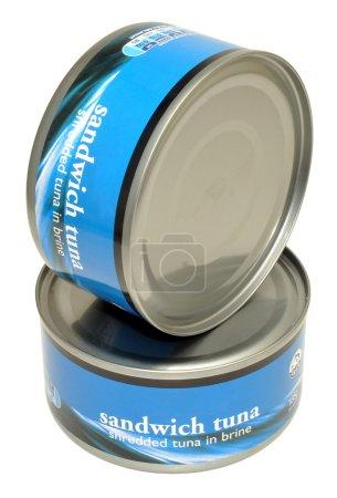 Photo pour Deux boîtes non ouvertes des thons en saumure, isolé sur fond blanc. - image libre de droit