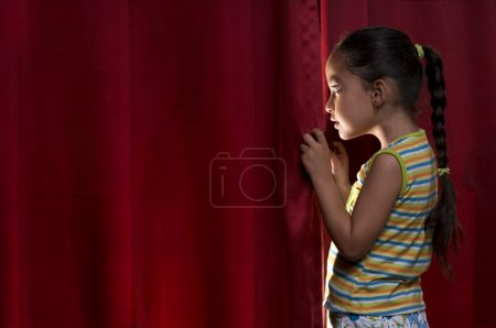 Little girl peeking