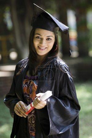 Student girl graduating