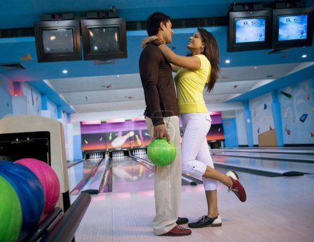 Couple at the bowling alley