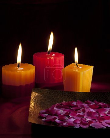 Flower petals and candles