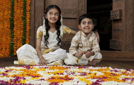 South Indian girl with her brother