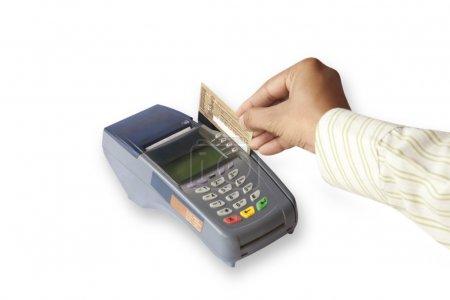 Photo pour Main glisser carte crédit isolé sur fond blanc - image libre de droit