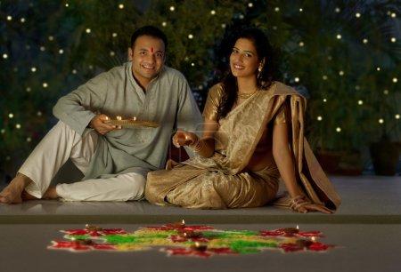 Maharashtrian couple praying
