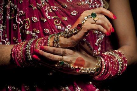 Jewelery on hands of Indian bride