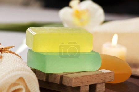 Photo pour Barres de glycérine du savon en gros plan - image libre de droit