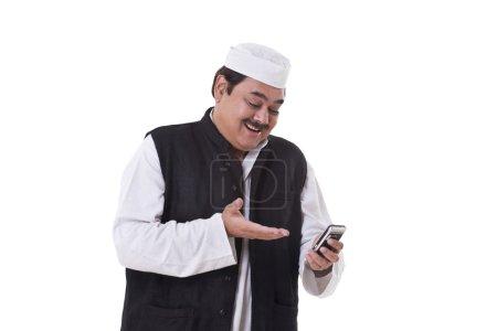 Happy politician texting