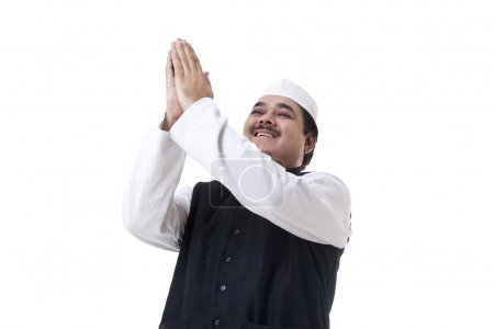 Politician with raised hands