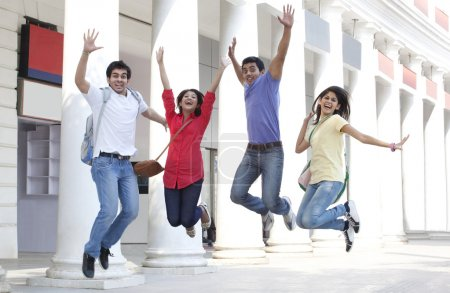 College students jumping