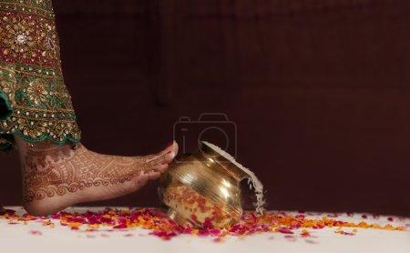 Bride's leg during wedding ceremony