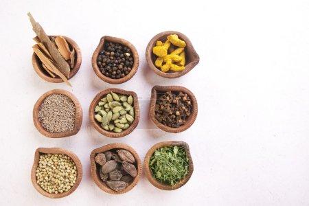 Photo pour Variété d'épices indiennes en diyas sur fond blanc - image libre de droit