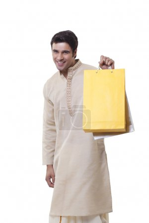 Bengali man  with shopping bags