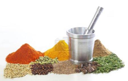Photo pour Mortier et pilon avec variété d'épices sur fond blanc - image libre de droit