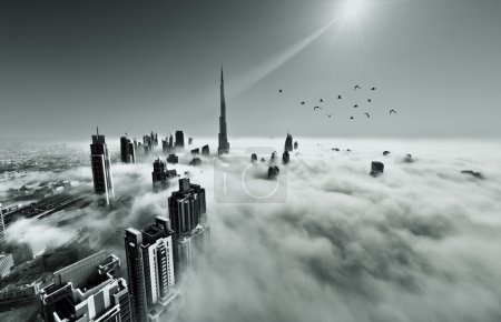 Burj Khalifa, Dubai covered in fog