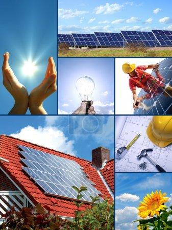 Foto de Mezcla fotográfica de recursos energéticos solares y tecnologías - Imagen libre de derechos