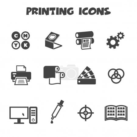 Illustration for Printing icons, mono vector symbols - Royalty Free Image