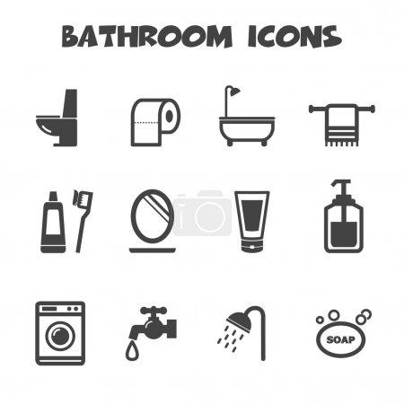 Illustration pour Icônes de salle de bains, symboles mono - image libre de droit