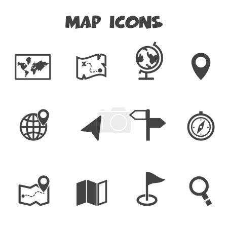 Illustration for Map icons,mono symbols - Royalty Free Image