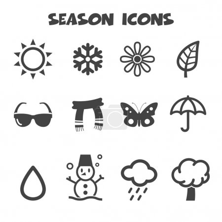 Illustration for Season icons,  mono color  symbols - Royalty Free Image