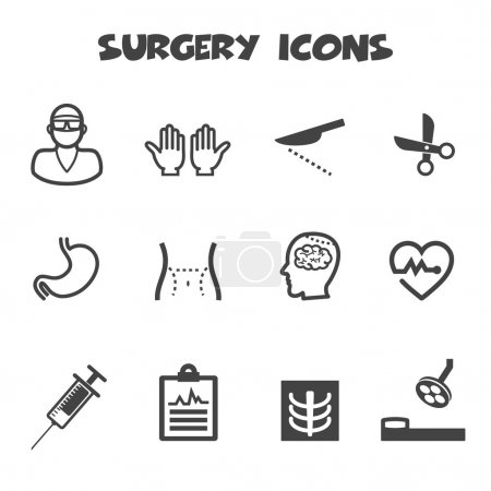 Illustration for Surgery icons,  mono color  symbols - Royalty Free Image