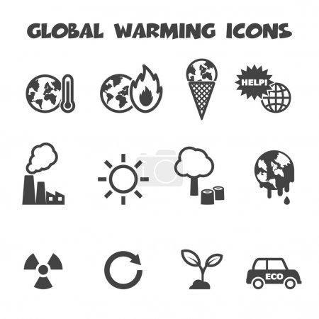 Illustration for Global warming icons, mono vector symbols - Royalty Free Image