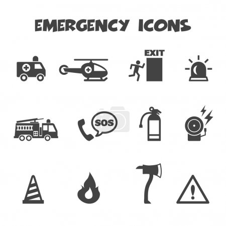 Illustration pour Icônes d'urgence, symboles mono vectoriels - image libre de droit