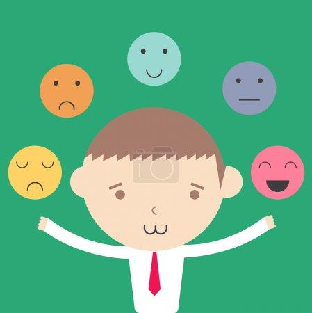 Illustration for Businessman emotional control management concept cartoon illustration. - Royalty Free Image